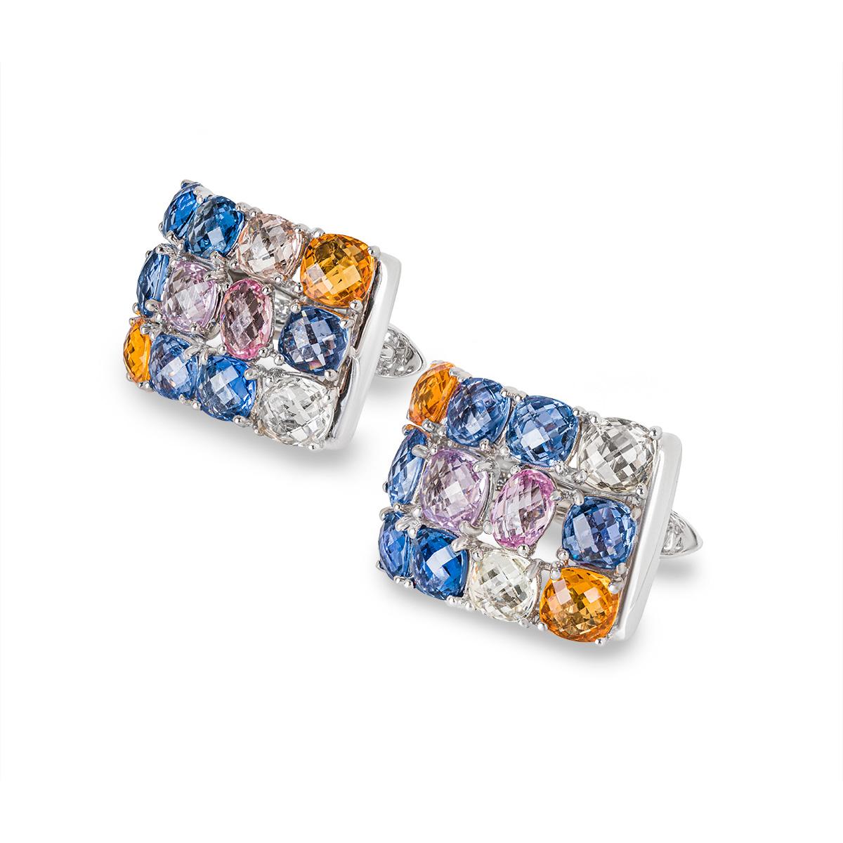 White Gold Multi Coloured Sapphire Earrings